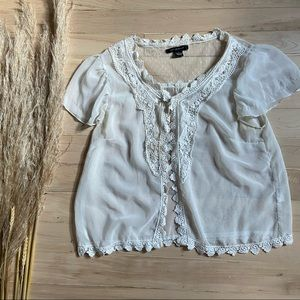 QED London   Boho Embroidered Open Front Top